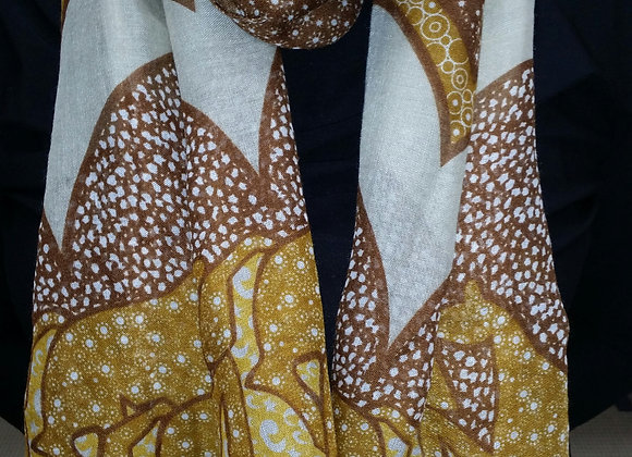 Abstract Horse Silhouette Scarf -Brown/Gold/White