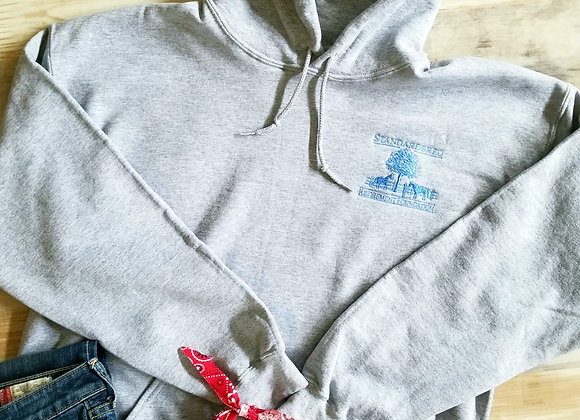 Hooded Pullover Sweathshirt in Heather Grey w Blue