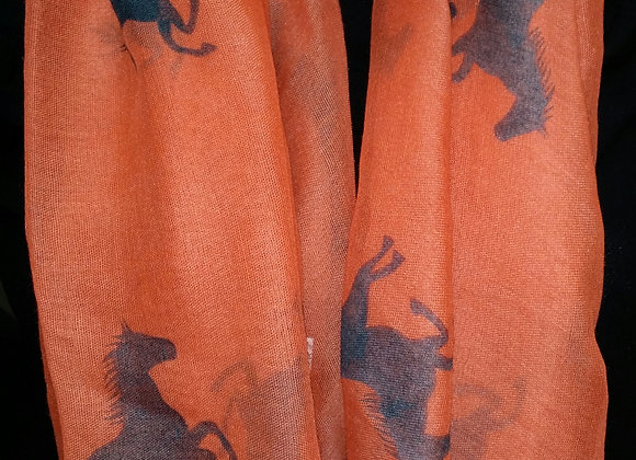 Solid Printed Horse Scarf - ORANGE
