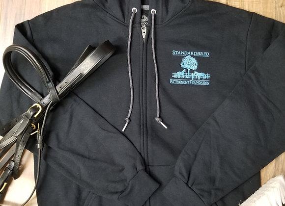 Black Zip Hooded Sweatshirt Blue Logo