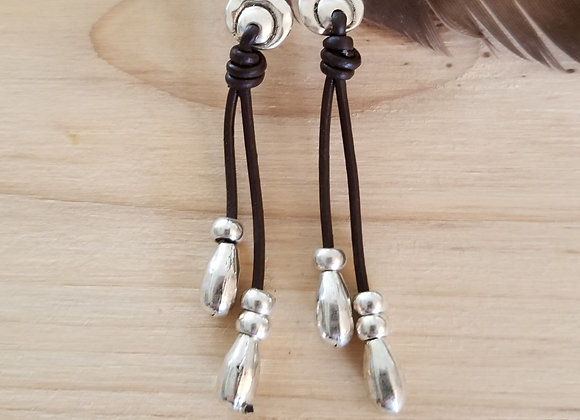 Silver and Leather Earrings