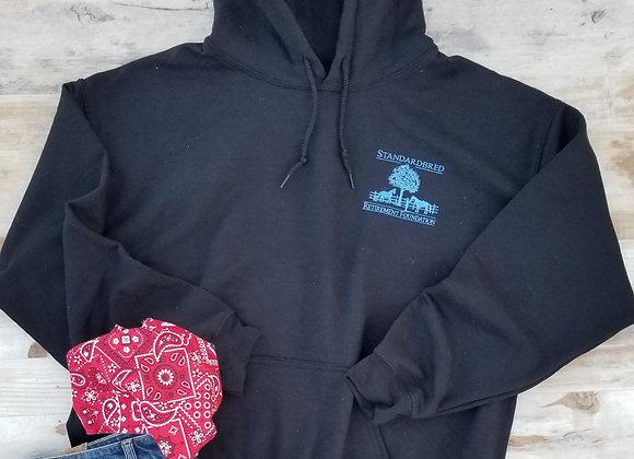Unisex Pullover Hoodie Black w Blue
