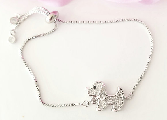 Sweet Pup Bracelet-Silver and Cubic Zirconia !