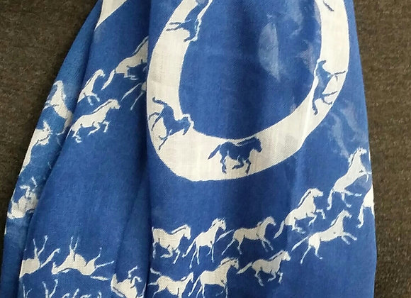 Horse Silhouette Scarf - Blue