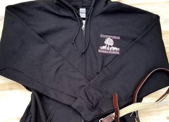 Unisex Zip Hoodie Black with Soft Pink Logo