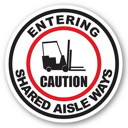 DuraStripe - Circular Safety Signs / Caution Entering Shared Aislways