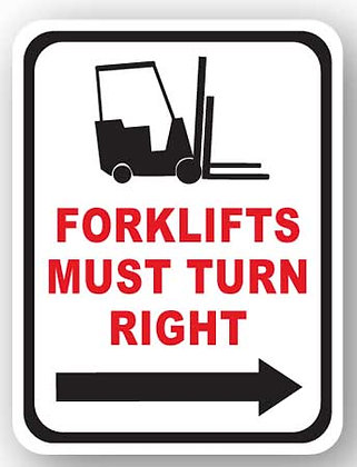 DuraStripe - Rectangular Safety Signs / Forklift Must Turn Right