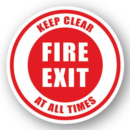 DuraStripe - Circular Safety Signs / Fire Exit Keep Clear All Time