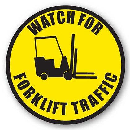 DuraStripe - Circular Safety Signs / Watch For Forklift Traffic