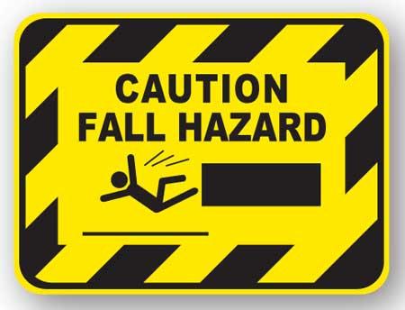 DuraStripe - Rectangular Safety Signs / Caution Fall Hazard