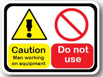 DuraStripe - Rectangular Safety Signs / Caution Men Working On Equipment