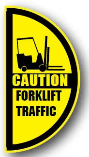 DuraStripe - Side-Stop & Half Signs / Caution Forklift Traffic Left