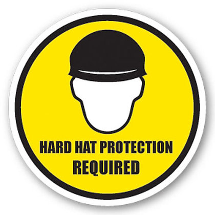 DuraStripe - Circular Safety Signs / Hard Hat Protection Required