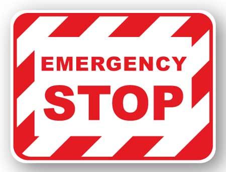 DuraStripe - Rectangular Safety Signs / Emergency Stop