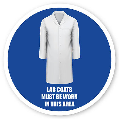 DuraStripe - Circular Safety Signs / Lab Coats Must Be Worn