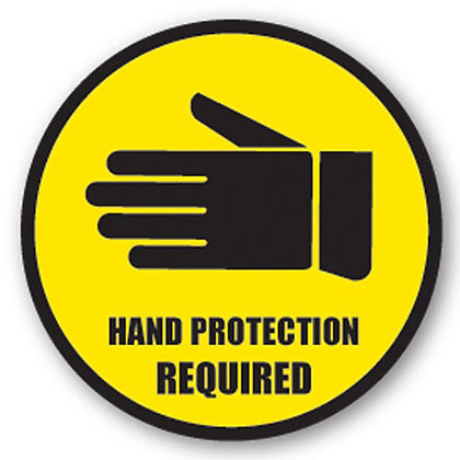 DuraStripe - Circular Safety Signs / Hand Protection Required