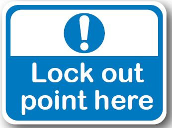 DuraStripe - Rectangular Safety Signs / Lock Out Point Here