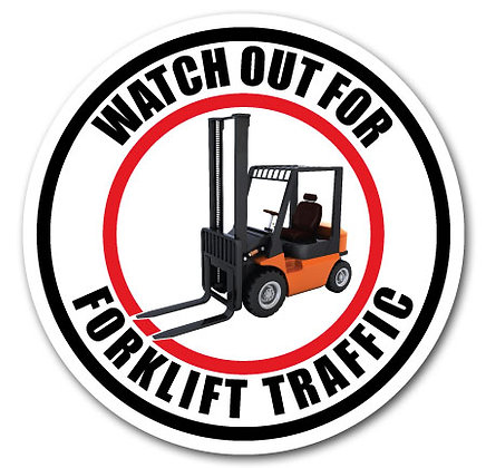 DuraStripe - Circular Safety Signs / Watch Out for Forklift Traffic