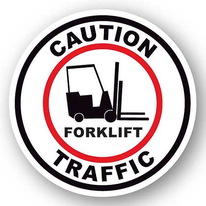 DuraStripe - Circular Safety Signs / Caution Forklift Traffic