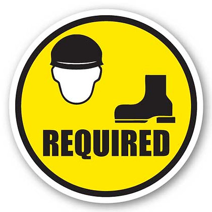 DuraStripe - Circular Safety Signs / Hard Hat and Safety Shoes Required
