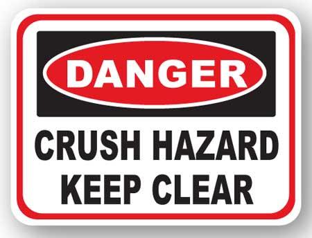 DuraStripe - Rectangular Safety Signs / Danger Crush Hazard Keep Clear