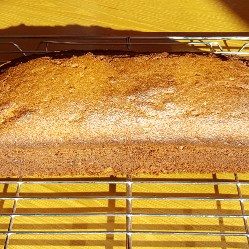 Nothing is better than the smell of fresh banana bread. Yummm. This one has eatable flowers in it. Lovely!