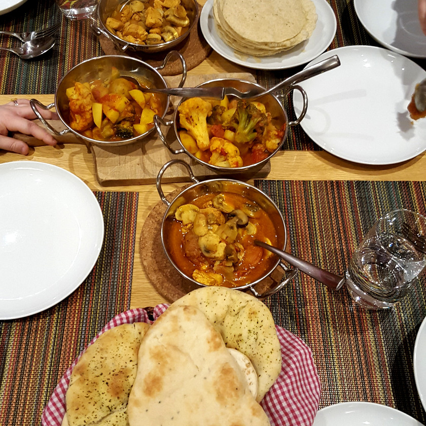 Cauliflower and potato curry and a mushroom and chicken curry