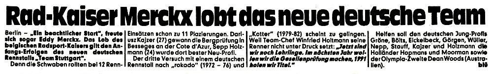 Rad-Kaiser Merckx lobt ...