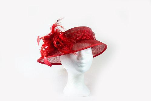 Elegante dames hoed rode met een veren strik