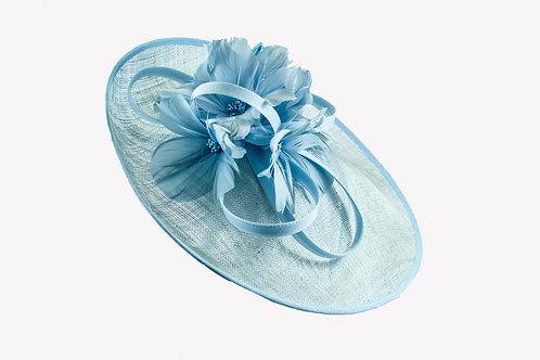 Helmels blauw schoteltje met bloemen van veren