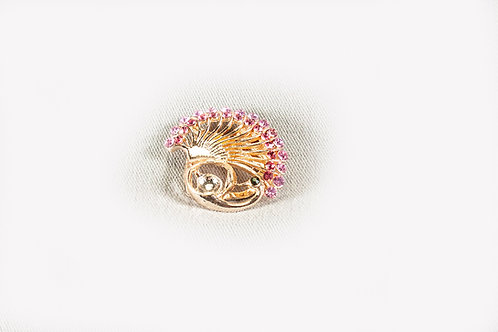 Broche/klip een pauwenstaart met roze stras