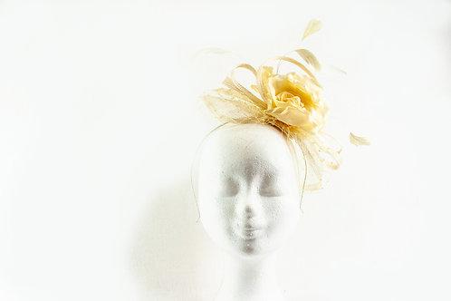 Kapje met zijde rose alles in het zacht geel