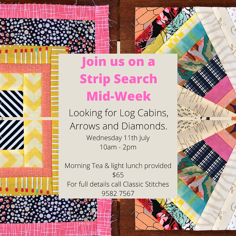 Strip Search- looking for log cabins, arrows & diamonds. Mid-Week Class
