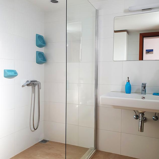 bathroom with glass