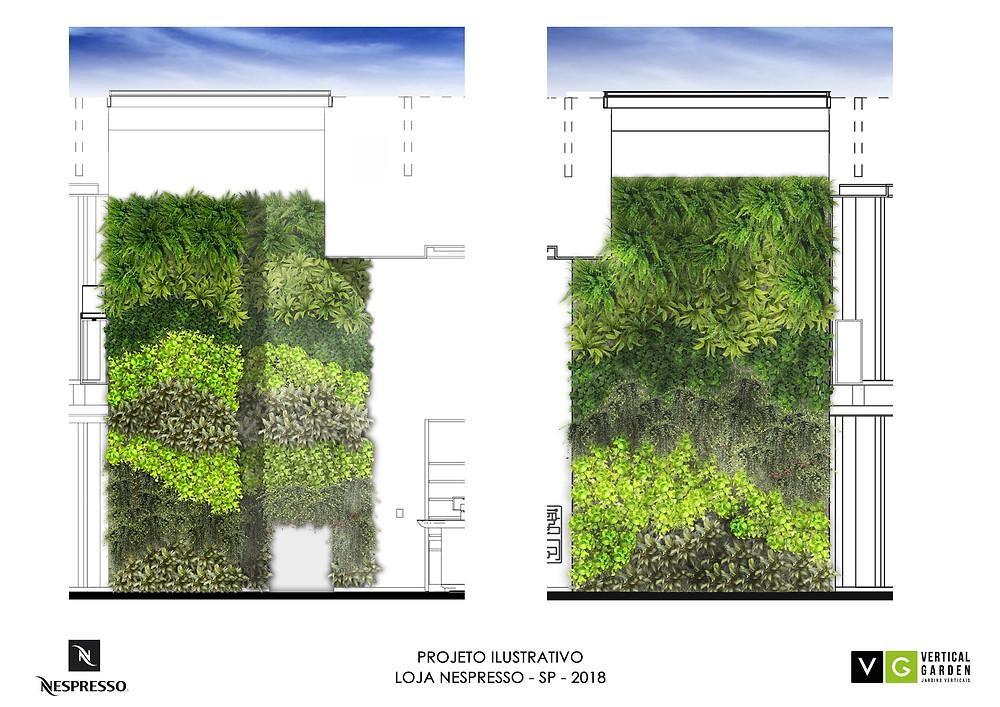 Projeto Jardim Vertical Interior de Loja
