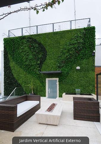 Jardim Vertical com Plantas Artificiais Externo