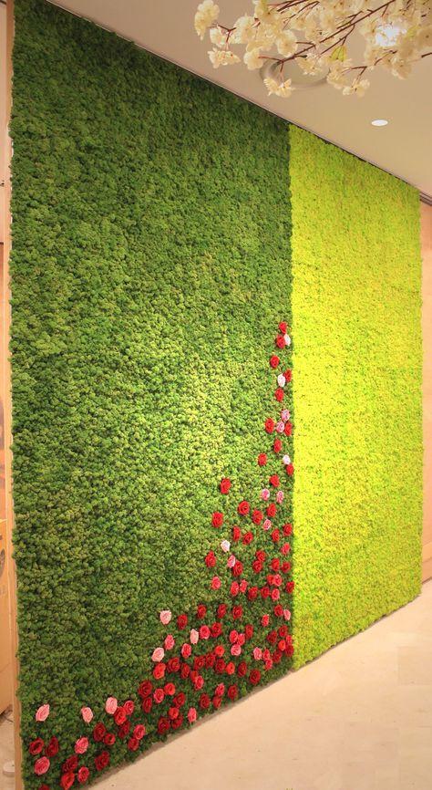 Ideia de Combinação Flores Musgo Moss Wall