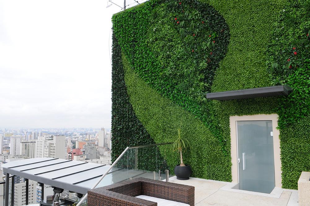 jardim vertical artificial externo fachada