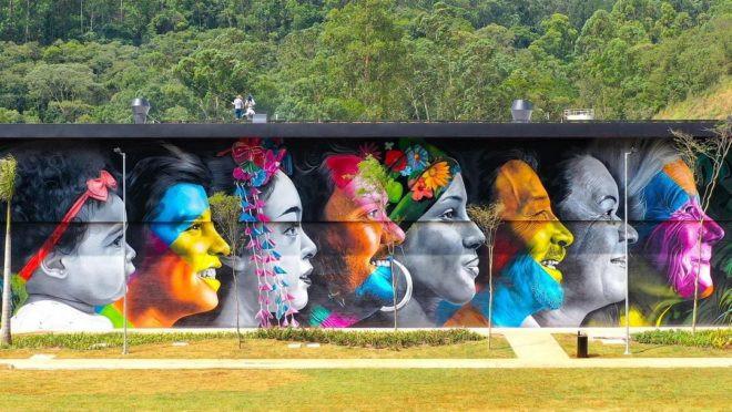 Mural a linha da Vida Grafite Garden ONE & Kobra