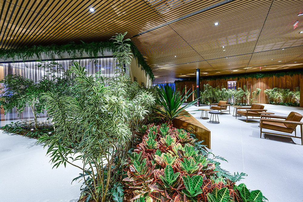 Mix de plantas naturais e preservadas montam a estratégia de baixa manutenção