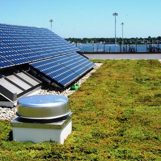 Telhado verde com energia solar