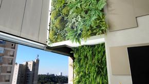 Painel de Jardim Vertical em Apartamento leva plantas Naturais e Artificiais