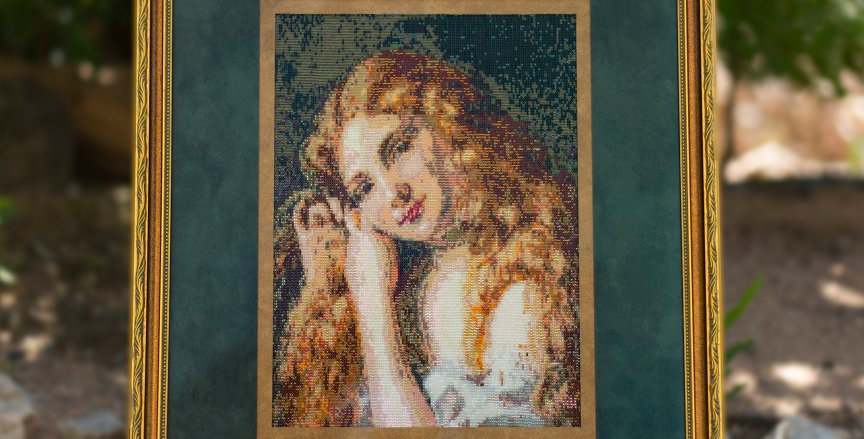 Young Girl Fixing Hair Beaded Tapestry 2016