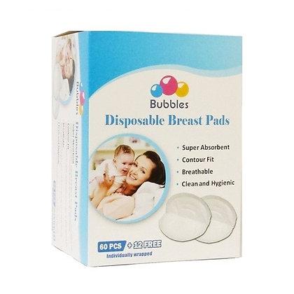 Bubbles Disposable Breast Pads 60pcs + FREE 12pcs
