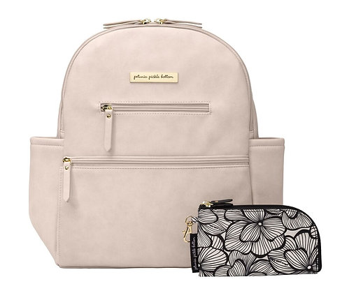 Petunia Pickle Bottom Ace Backpack in Ivory Matte Leathere