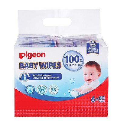 Pigeon Baby Wipes Jumbo Pack (6 x 80 wipes)