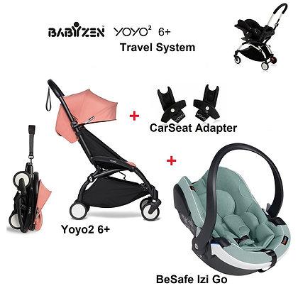(FREE LEG REST) Babyzen Yoyo2 6+ Travel System with Besafe Izi Go