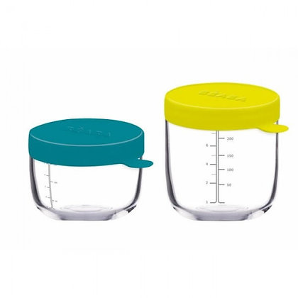 Beaba Set of 2 Glass & Silicone Containers ( Blue 5oz + Neon 8oz)