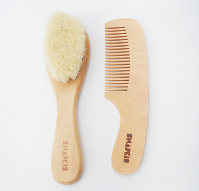 Snapkis Baby Wooden Hair Brush & Comb Set