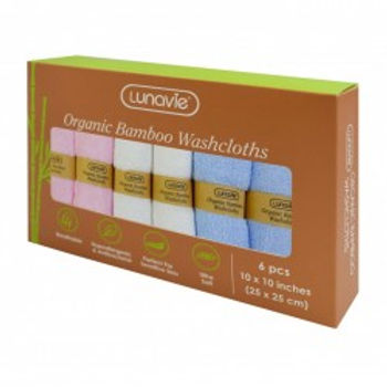 Lunavie Organic Bamboo Washcloth (6 Pcs)